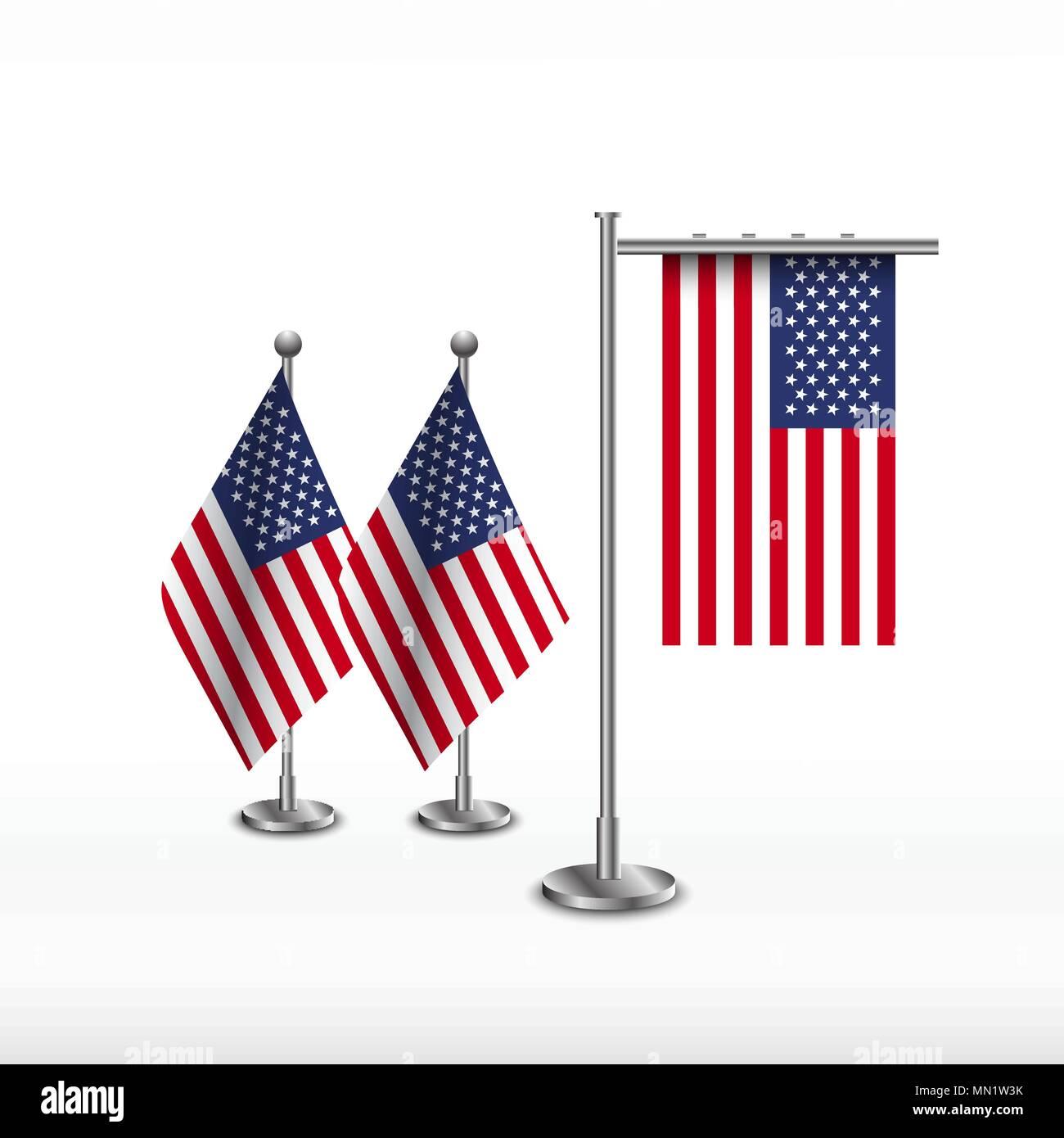 State table flag of USA. National symbol. Table flag - Stock Vector