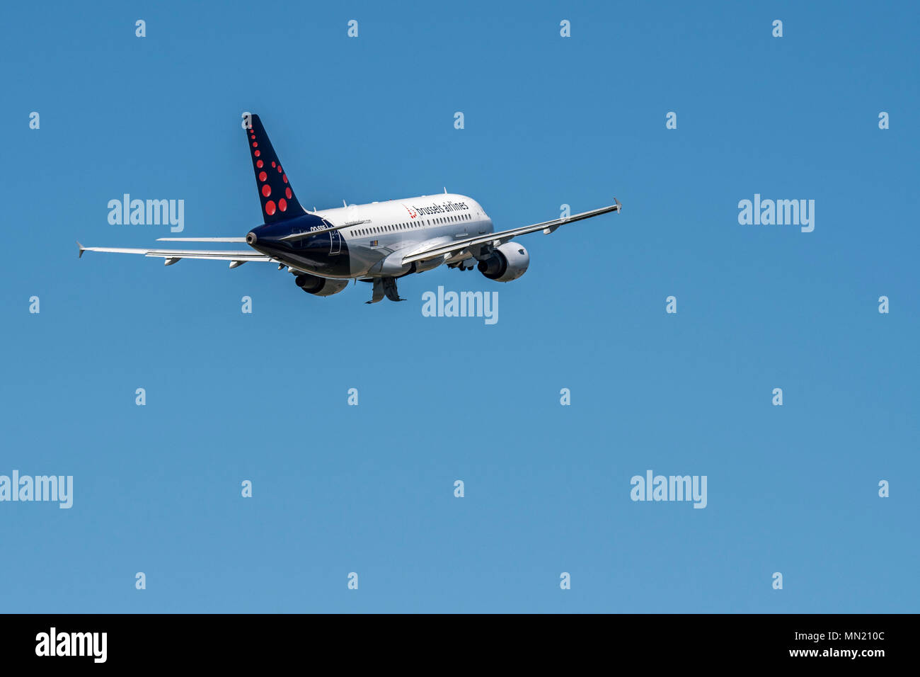 Airbus A319-111 from Brussels Airlines taking off from Brussels-National airport, Zaventem, Belgium - Stock Image