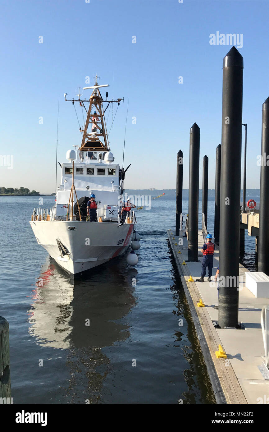 NEW YORK - Coast Guard Cutter Sitkinak, a 110-foot Island Class Patrol Boat, finalized their shift in homeport from Bayonne to Sandy Hook, New Jersey, in early August 2017. The Sitkinak has spent the past several years stationed in Bayonne after Hurricane Sandy damaged the piers in Sandy Hook in October 2012. (U.S. Coast Guard photo courtesy of Station Sandy Hook) - Stock Image