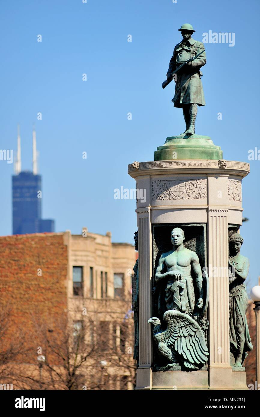 Chicago, Illinois, USA. The Bronzeville Victory Memorial is named for the Chicago Bronzeville neighborhood on the South Side of the city. - Stock Image