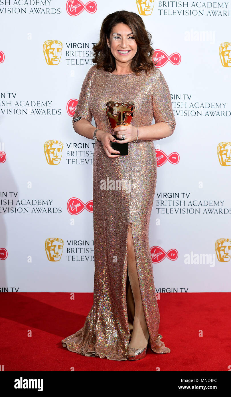 Jane McDonald with the Features award for Cruising with Jane McDonald in the press room at the Virgin TV British Academy Television Awards 2018 held at the Royal Festival Hall, Southbank Centre, London. - Stock Image