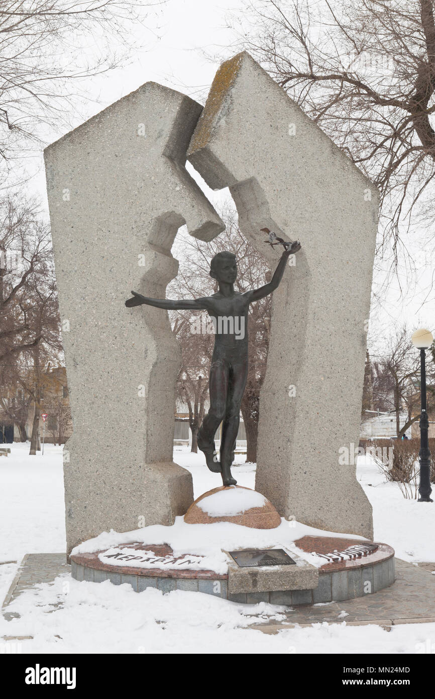 Evpatoria, Crimea, Russia - February 28, 2018: Monument to the victims of the Chernobyl disaster in the Komsomol Square in Evpatoria, Crimea - Stock Image