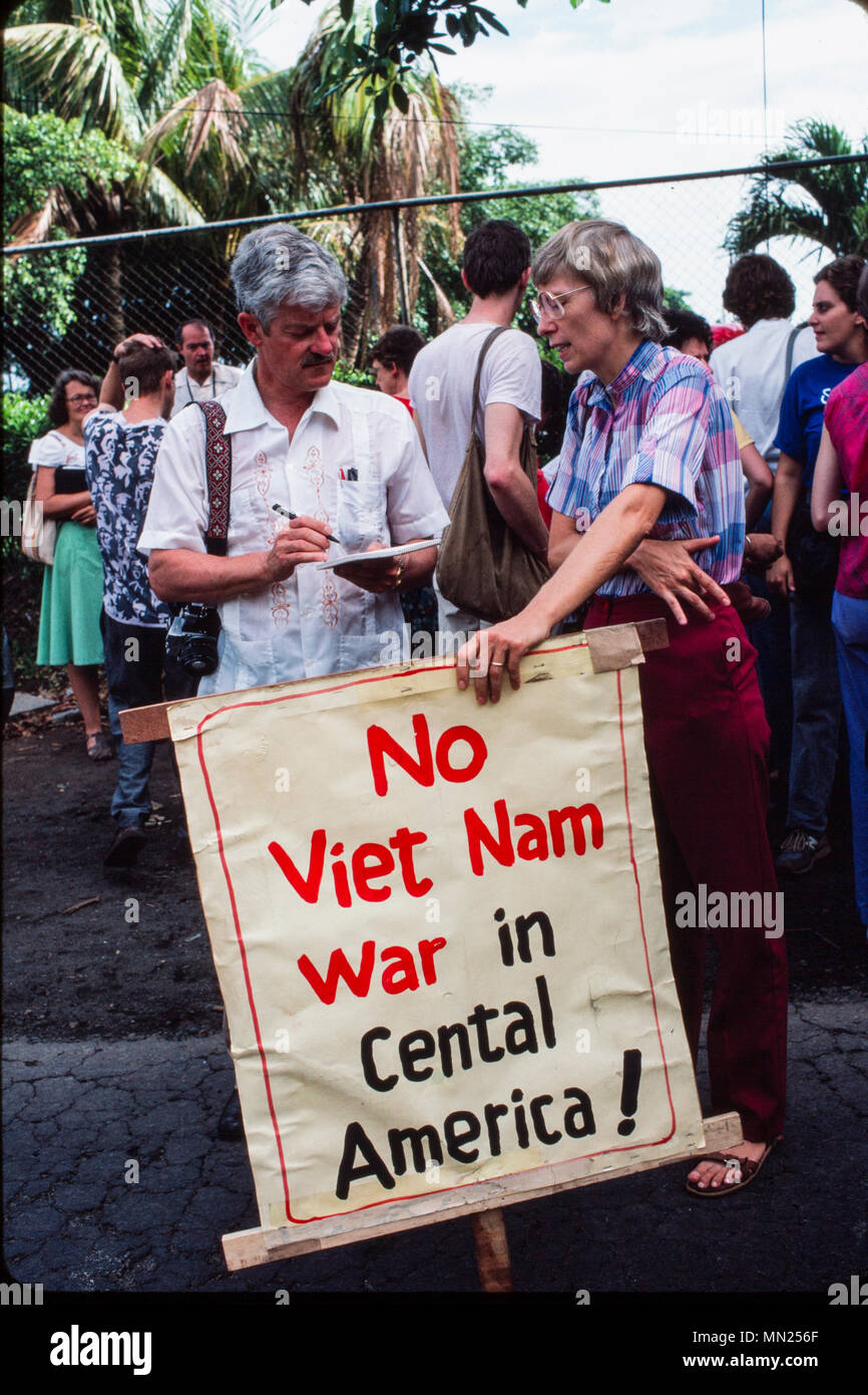 Managua, Nicaragua, June 1986;  Europeans protest against US intervention outside the US embassy in Managua. - Stock Image