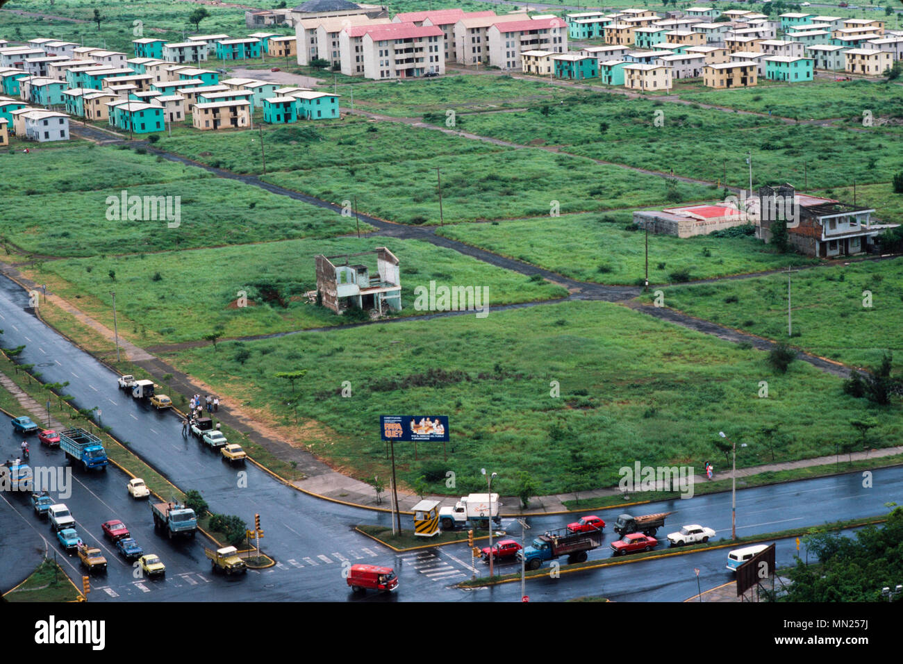 Managua, Nicaragua, June 1986;The city centre was destroyed in an earthquake in 1972. Some new housing has been built. Stock Photo