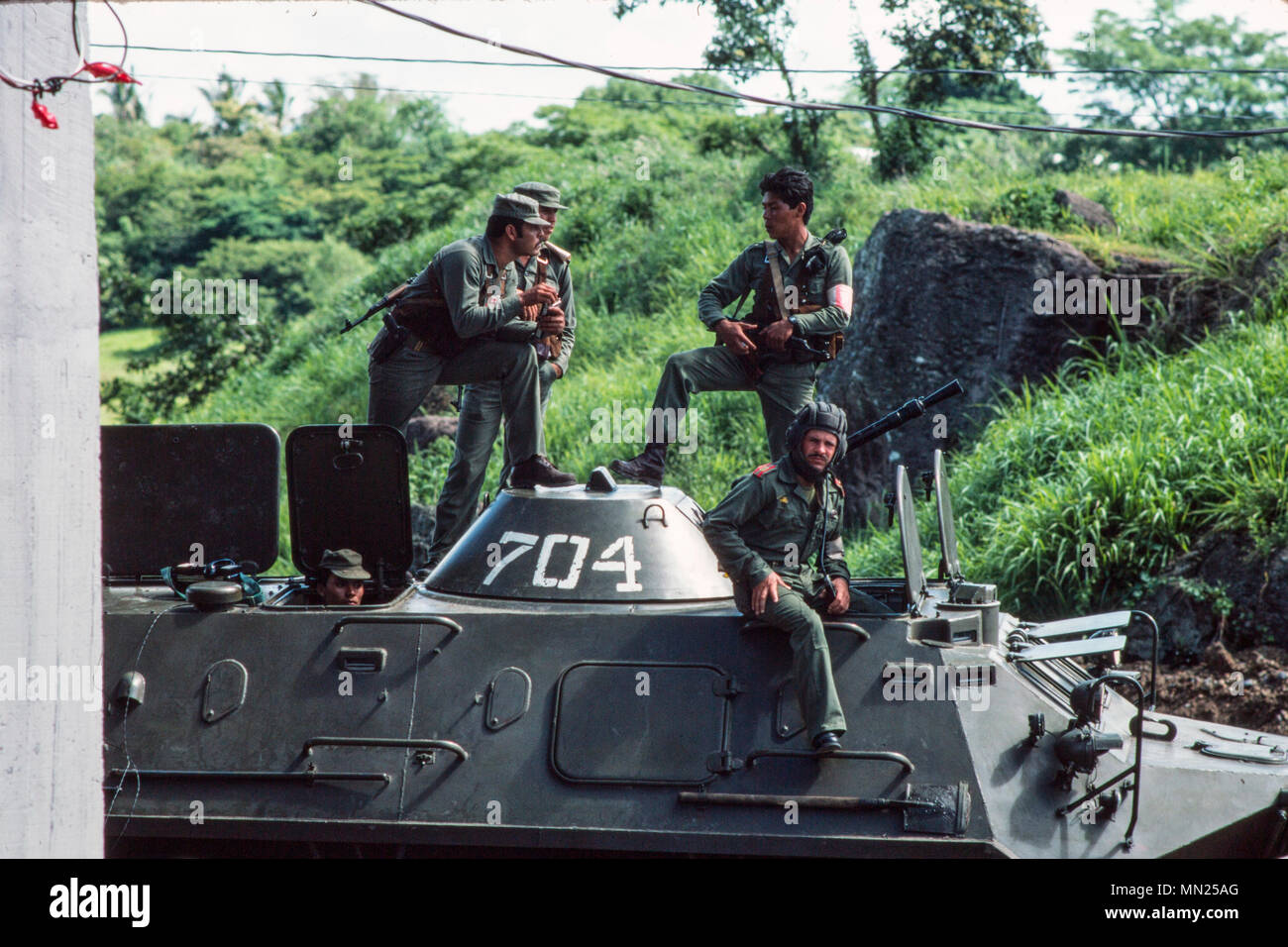 Managua, Nicaragua, June 1986; Nicaraguan FSLN troops with their amoured APC during celebrations to commeorate the overthrow of Somoza. - Stock Image