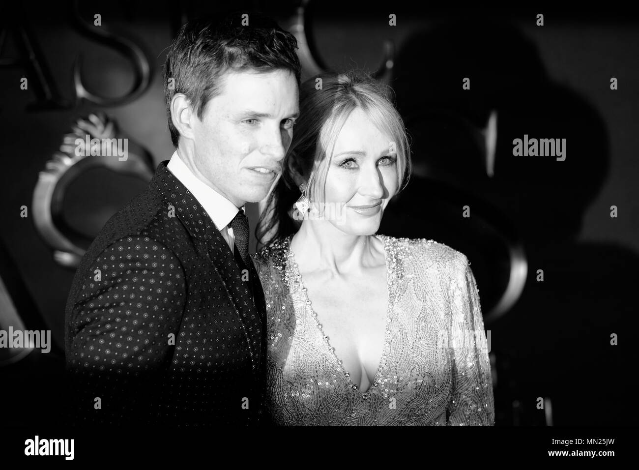LONDON, ENGLAND - NOVEMBER 15: (Editors Note: Image Converted to Black and White) Eddie Redmayne and J. K. Rowling attend the European premiere of 'Fantastic Beasts And Where To Find Them' at Odeon Leicester Square on November 15, 2016 in London, England. - Stock Image