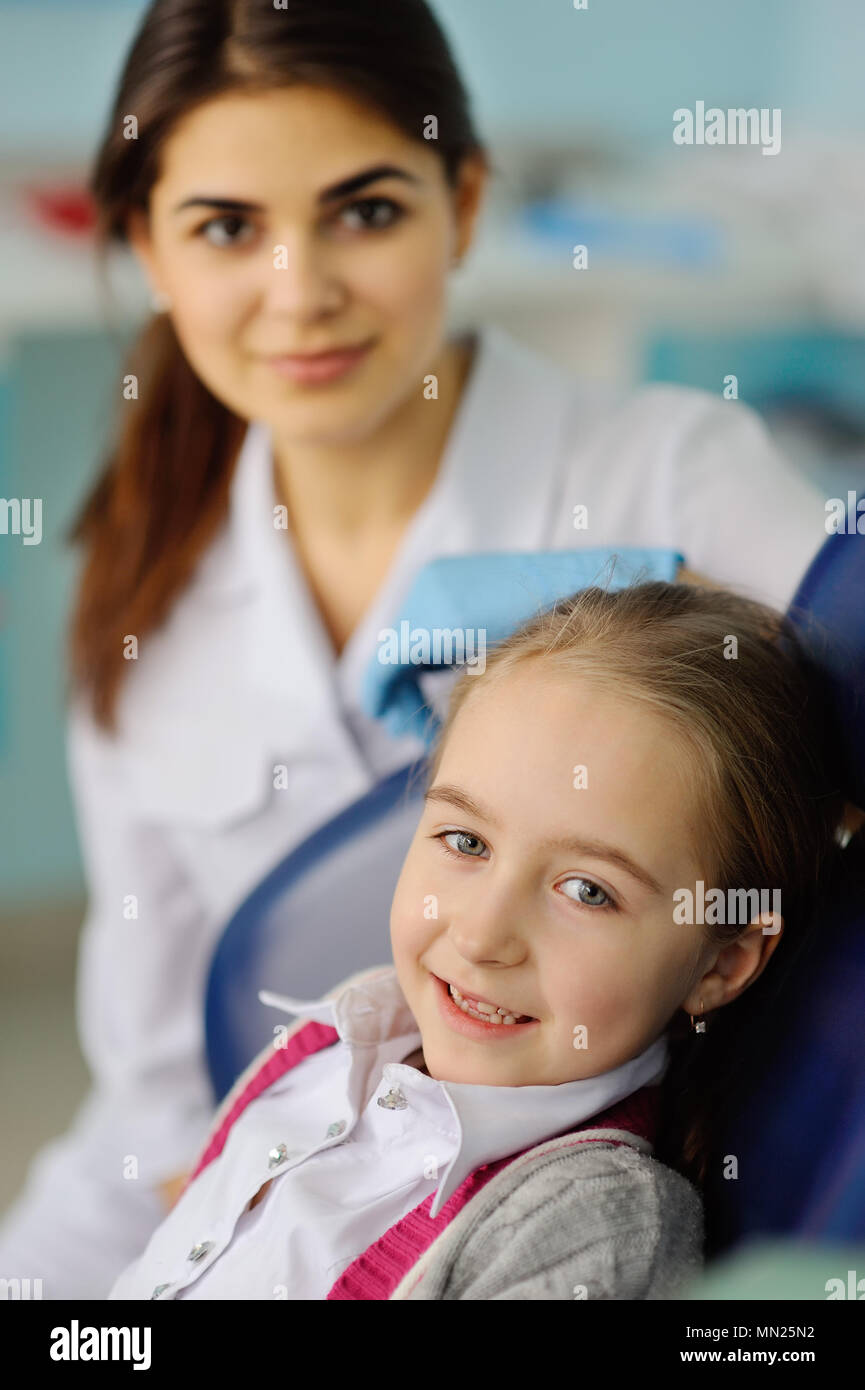 baby girl at the dentist Stock Photo