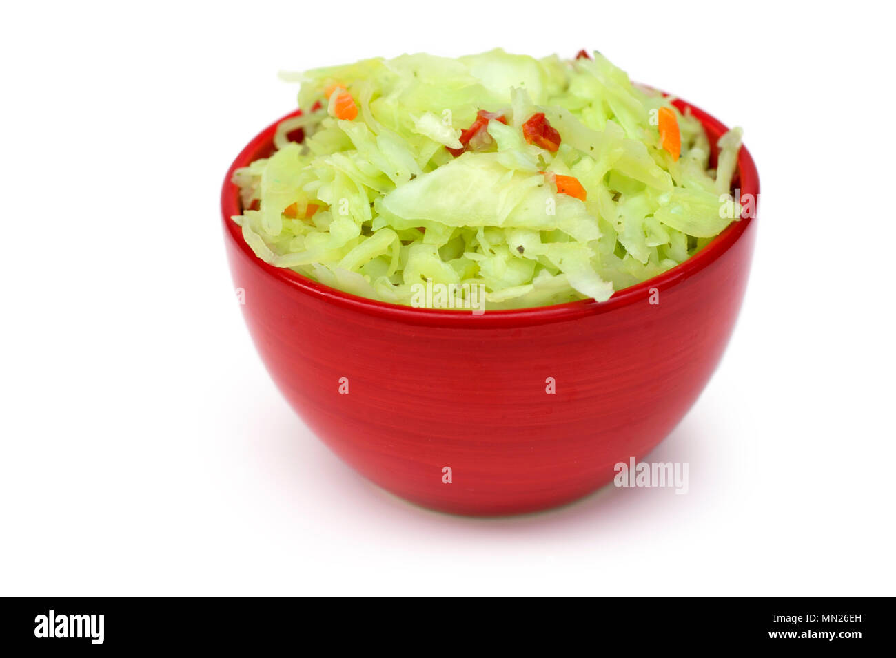 Coleslaw, red bowl with Coleslaw Salad - Stock Image