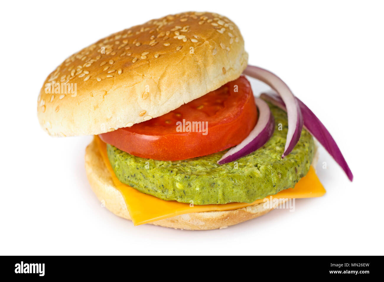 Vegetarian Veggie Burger, Patty with Green Beans, Peas, Spinach, Broccoli - Stock Image