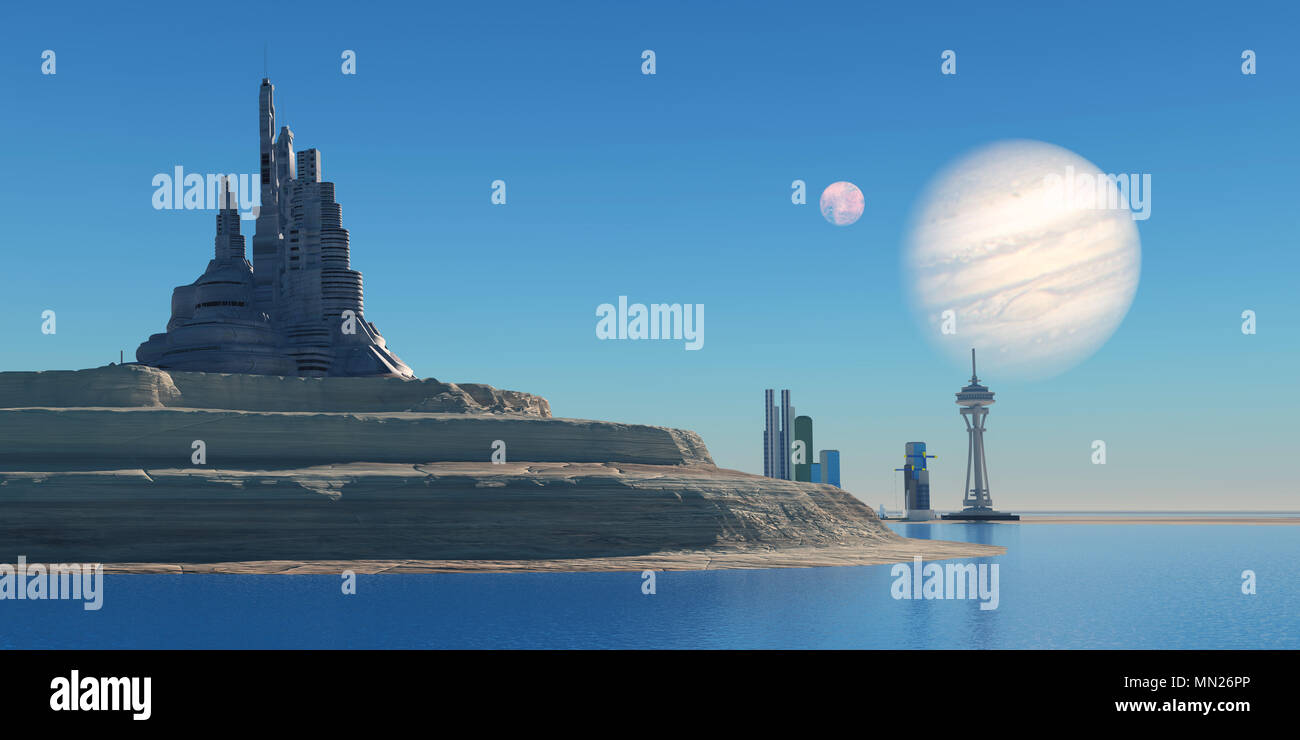 Outpost on Ganymede - Ganymede is the largest moon of the planet Jupiter in our Solar System and a port colony may be built on it in the future. - Stock Image