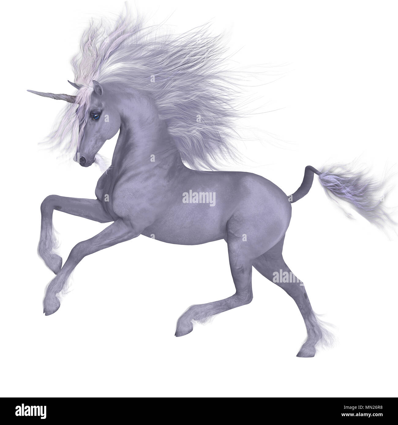 White Unicorn Prancing - A Unicorn is a mythical creature that has a white coat, cloven hooves, goat beard and forehead horn. - Stock Image
