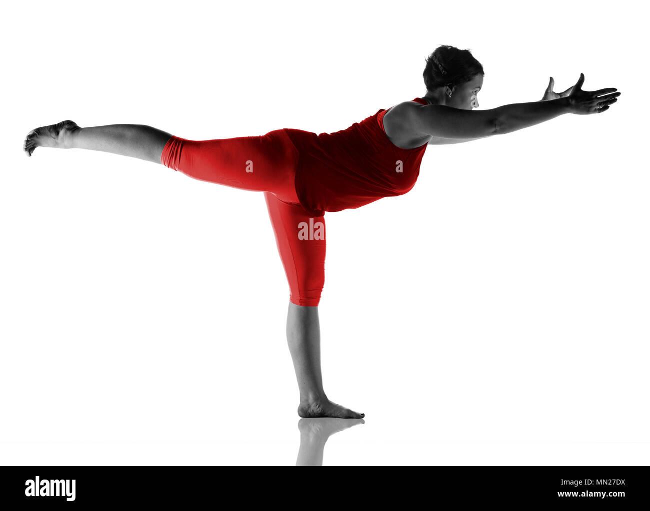Woman making yoga exercise - Stock Image