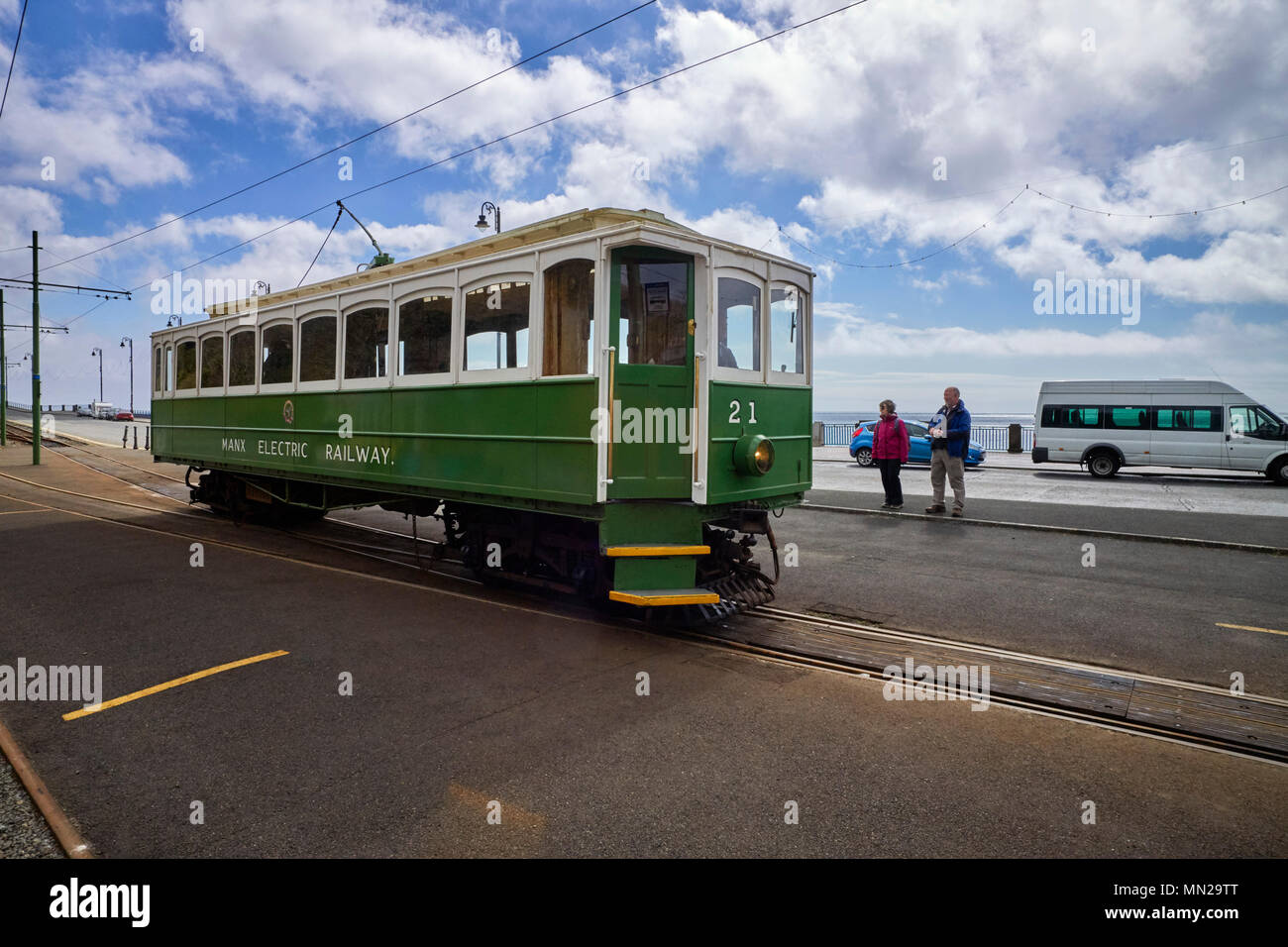 Manx Electric Railway car number 21 arrives at the Douglas terminus from Ramsey Stock Photo