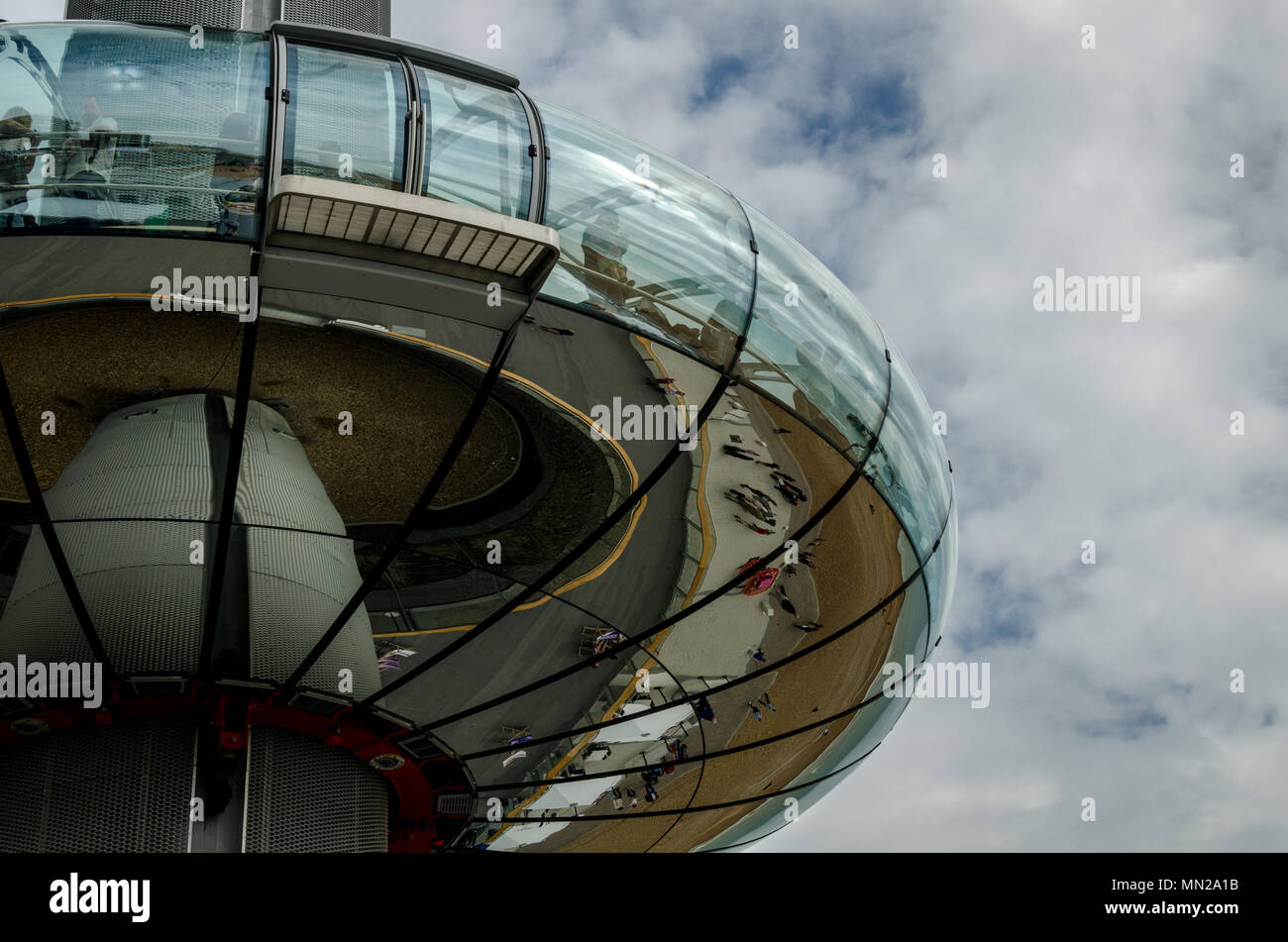 The British Airways i360 observation tower in the clouds at Brighton, England - Stock Image