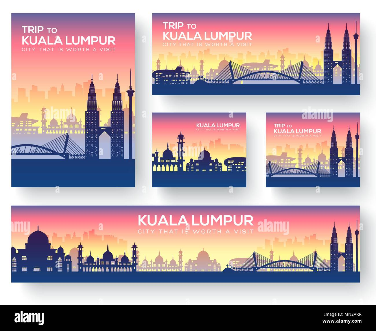 Set of kuala lumpur landscape country ornament travel tour concept. Culture traditional, magazine, book, poster, abstract, element. Vector decorative  - Stock Vector