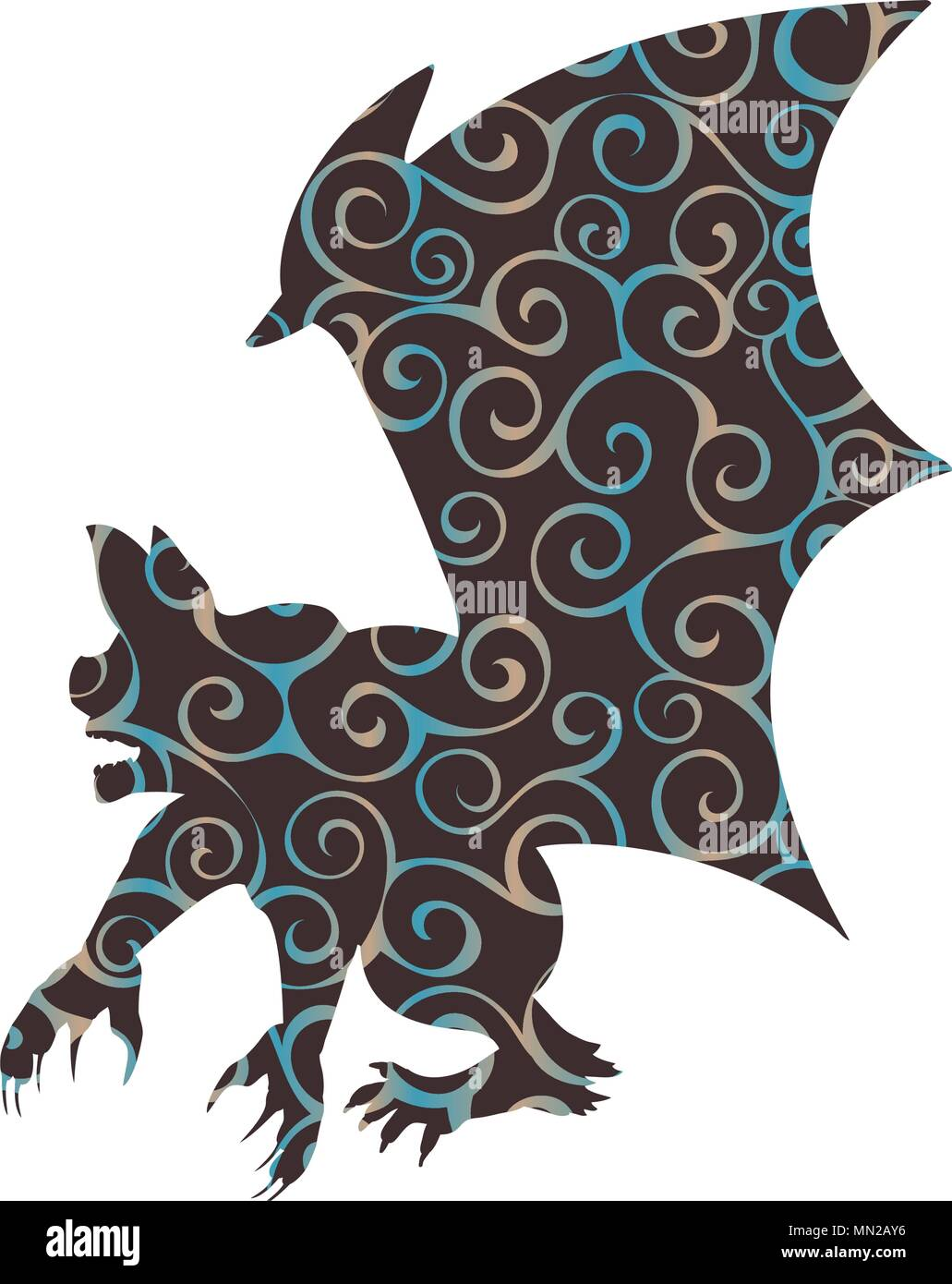 Gargoyle Chimera pattern silhouette ancient mythology fantasy - Stock Vector