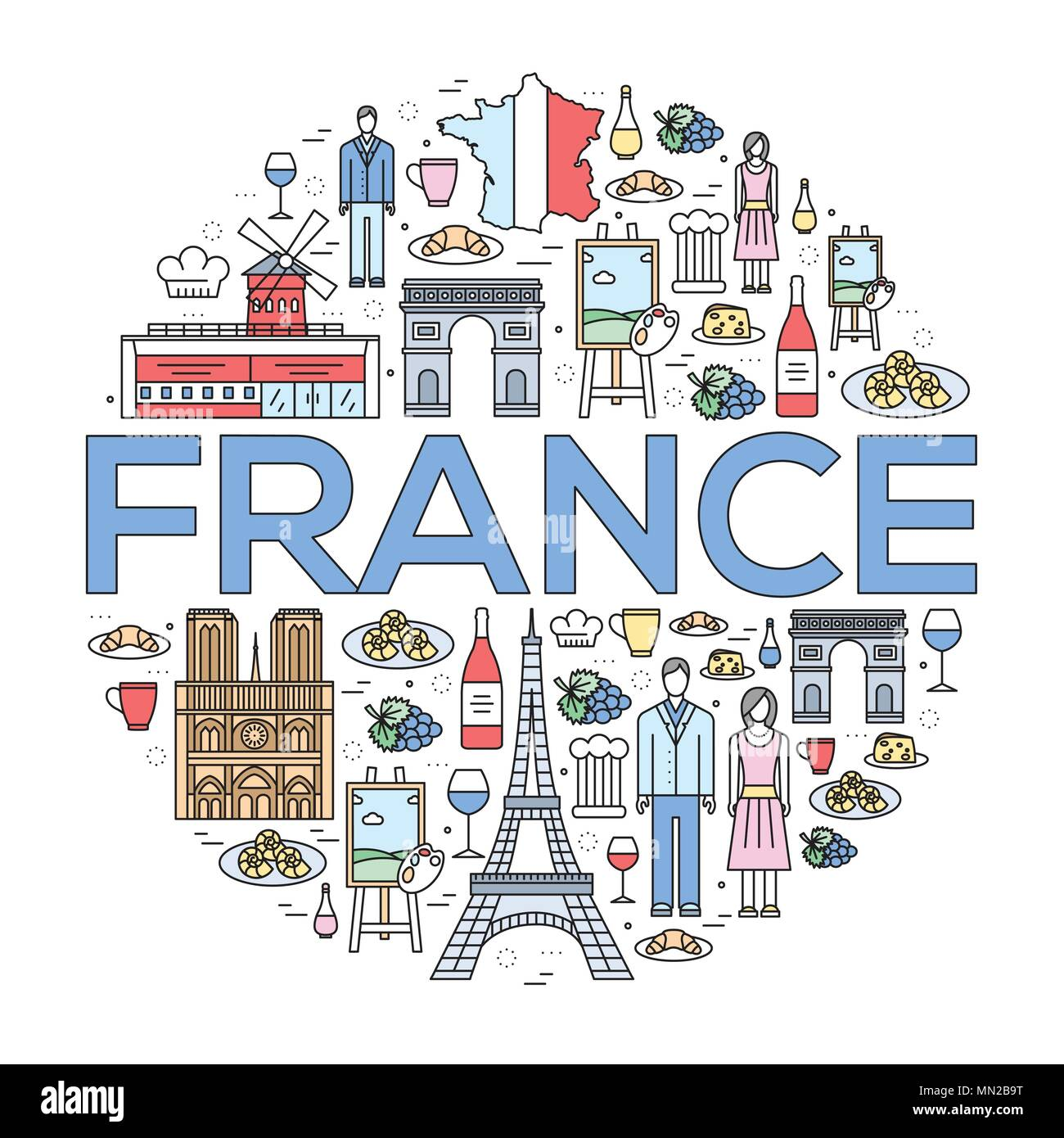 Country France trip guide of goods, places in thin lines style design. Set of architecture, fashion, people, nature background concept. Infographic te - Stock Image