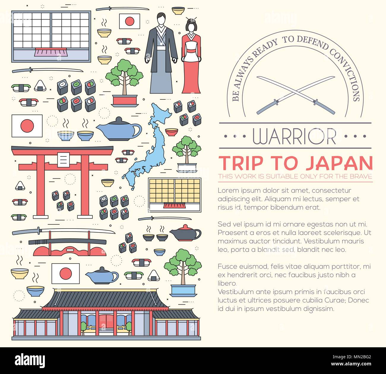 Country Japan travel vacation guide of goods, places and features. Set of architecture, fashion, people, items, nature background concept. - Stock Vector