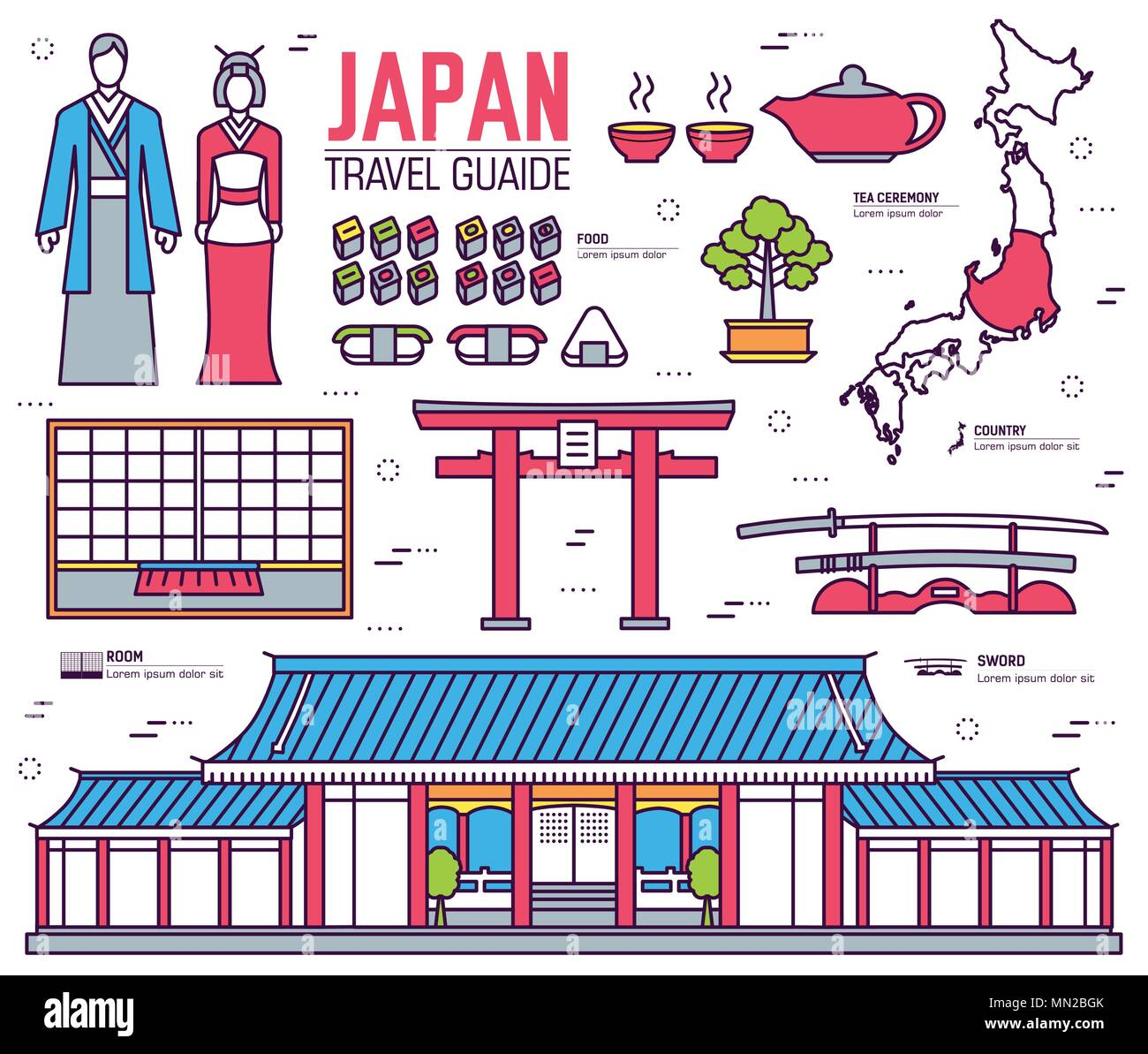 Country Japan trip of goods, places and features in thin lines style design. Set of architecture, fashion, people, items, nature background concept. I - Stock Vector