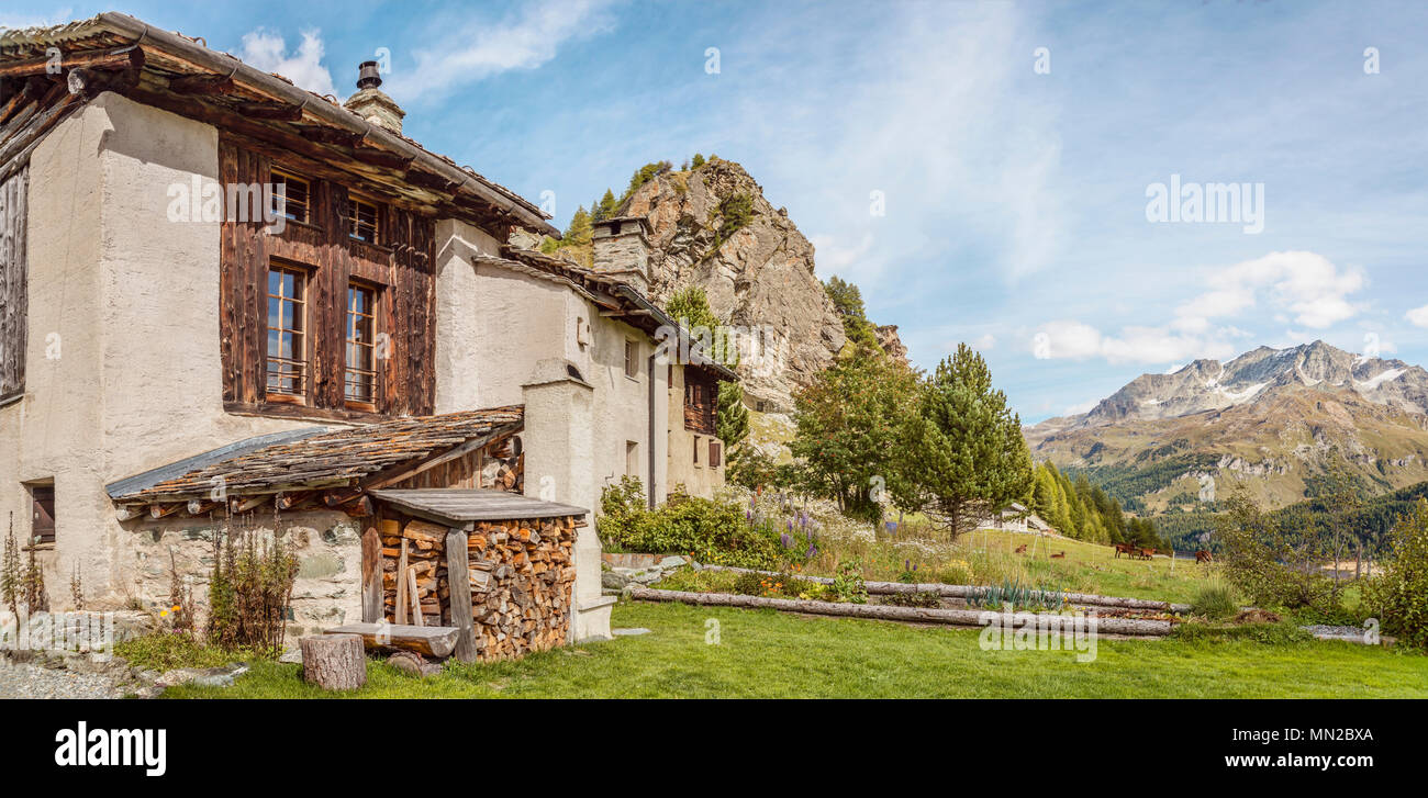 Heidi Village Grevasalvas in Summer, Grisons, Switzerland | Heididorf Grevasalvas im Sommer, Graubuenden, Schweiz - Stock Image