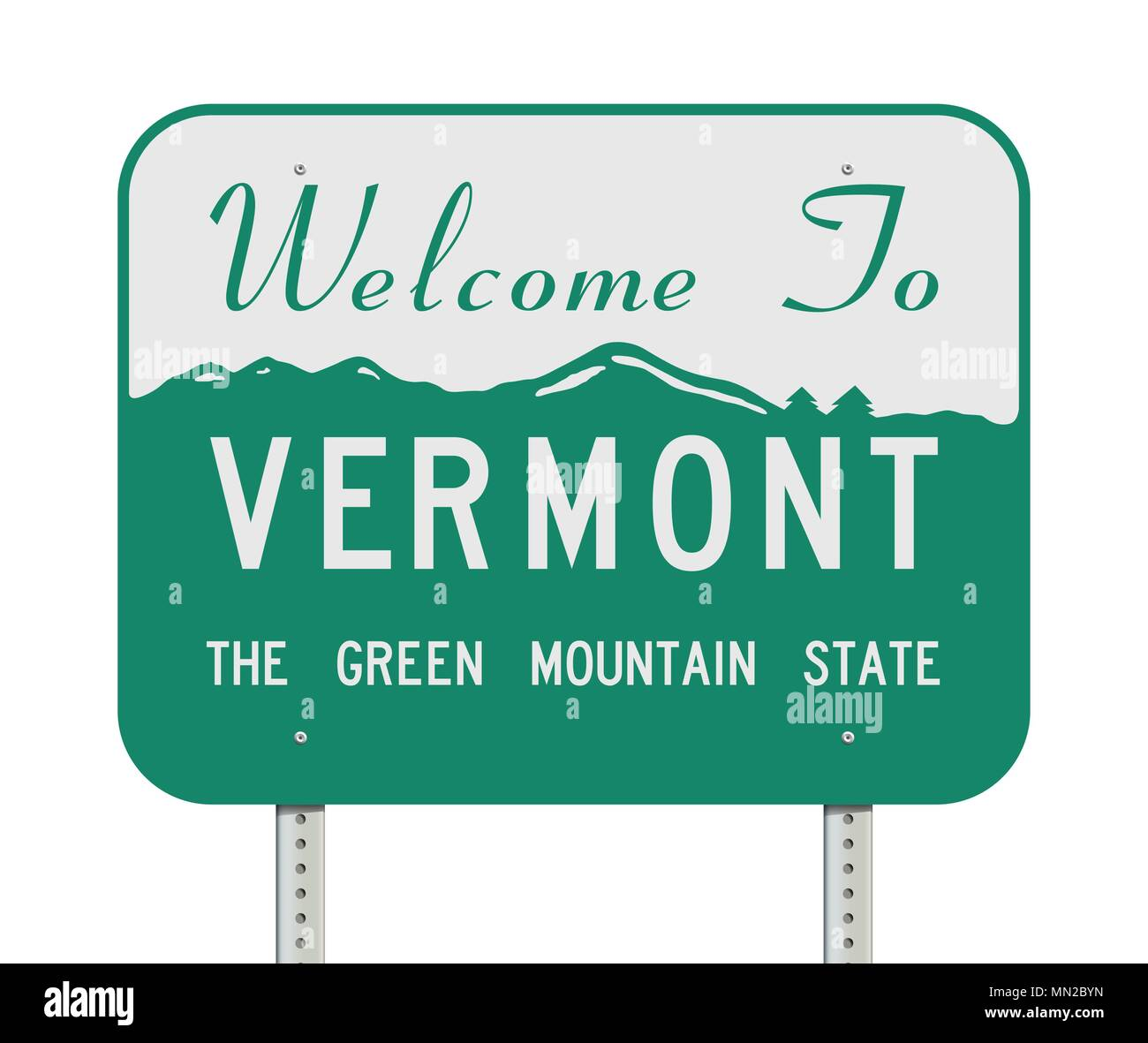Vector illustration of the Welcome to Vermont 'the green mountain state' road sign - Stock Vector