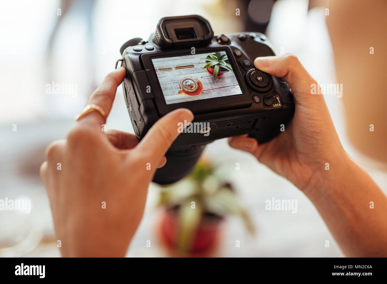 Close up of a blogger taking photos of a glass teapot and a plant using a professional camera for her food blog. Food blogger shooting photos for her  - Stock Image