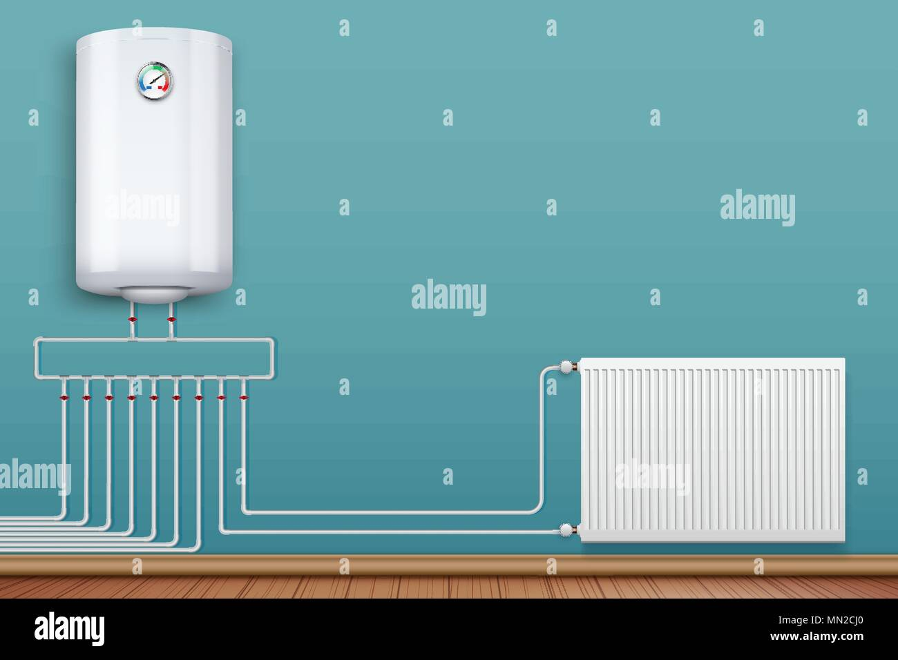 Heating radiator and boiler in room - Stock Vector