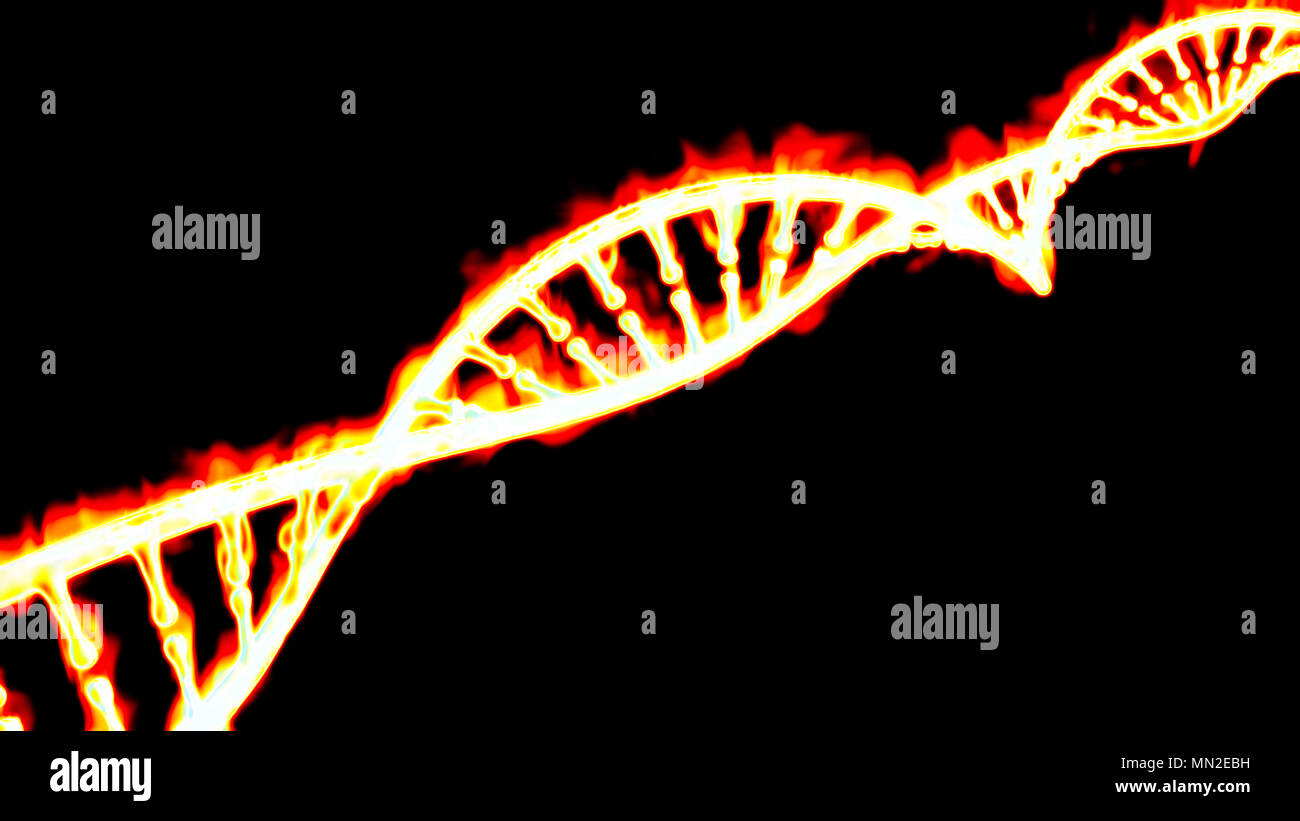 DNA, burning DNA helix, deoxyribonucleic acid is a nucleic acid that contains genetic information. Fire and flames. - Stock Image
