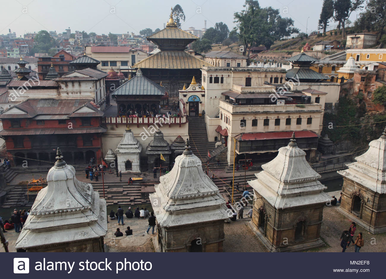 Chaityas stand amongst other buildings in the Hindu temple