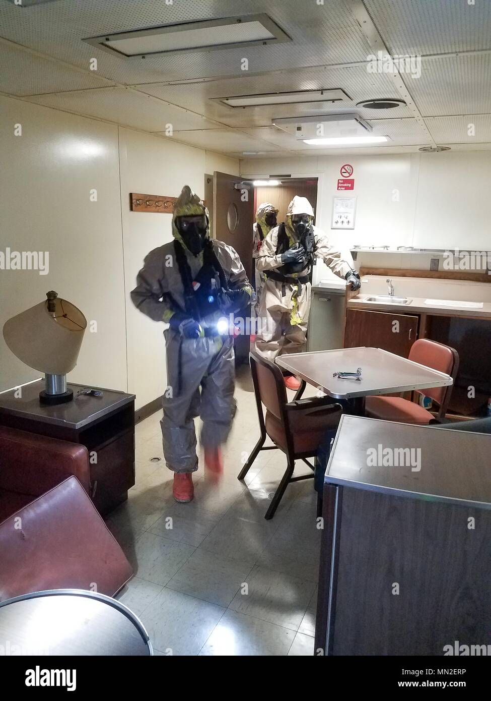National Guard service members from Pennsylvania, New Jersey, and Delaware respond to a simulated radiological threat at the Port of Baltimore on May 9, 2018, during exercise Vigilant Guard 18, May 9, 2018. Vigilant Guard is an exercise that allows the Maryland Military Department, along with 42 federal, state, and local agencies a chance to collaborate and test interoperability as part of a national level exercise. The agencies are evaluated on preparing for and recovering from a catastrophic hurricane making landfall. Nearly 2, 000 service members, from with in the FEMA Region III area, are  - Stock Image