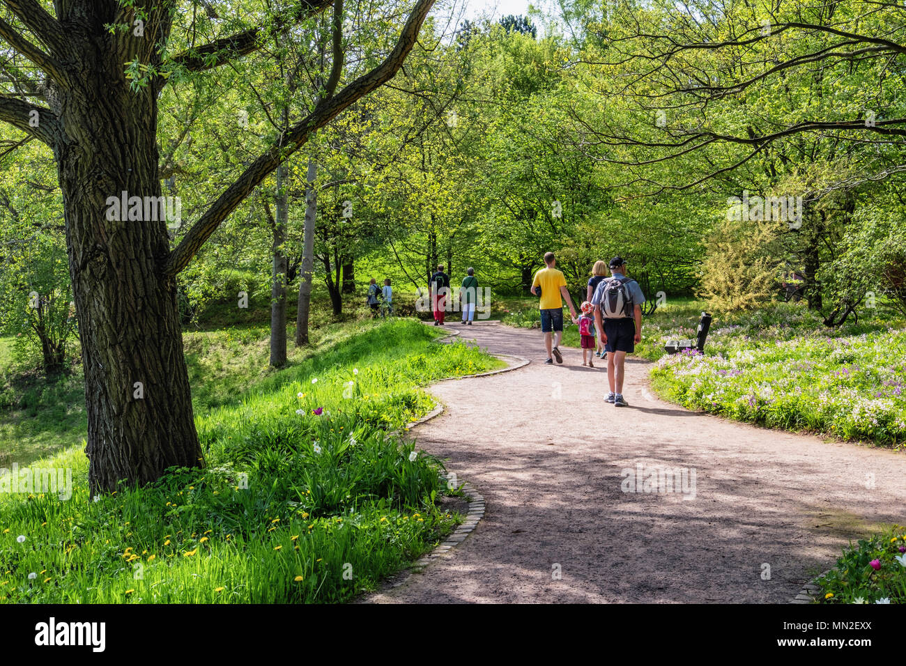 Britzer Garten, Neukölln, Berlin, Germany. 2018.Young couples, child and elderly man walking along path under trees with fresh spring foliage.         - Stock Image