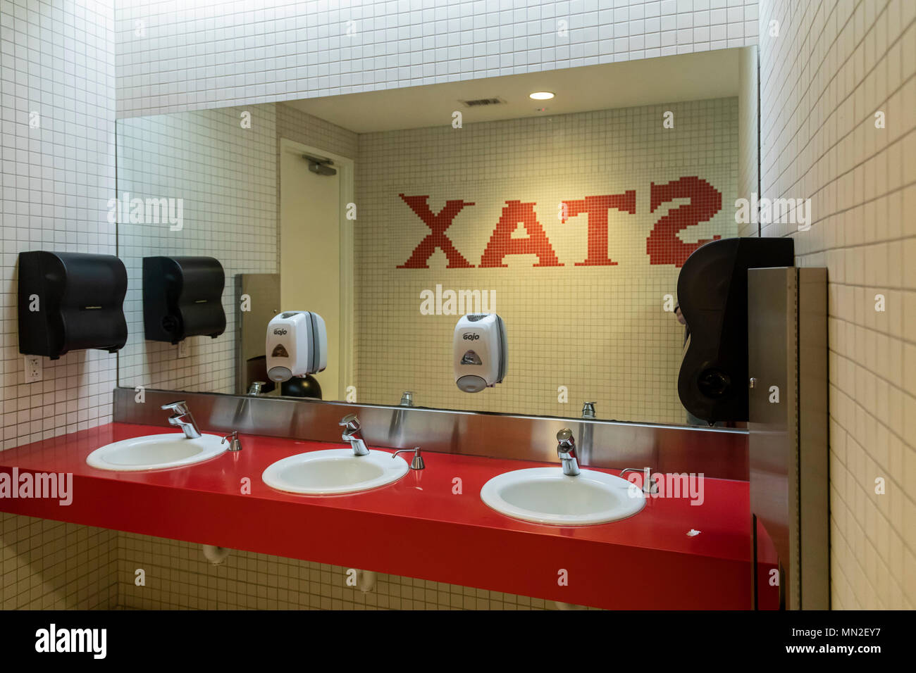 Memphis, Tennessee - A restroom at the Stax Museum of American Soul Music, the former location of Stax Records. - Stock Image