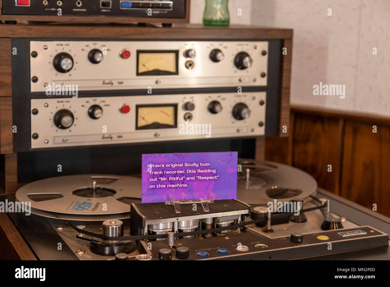 Memphis, Tennessee - Vintage recording equipment at the Stax Museum of American Soul Music, the former location of Stax Records. - Stock Image