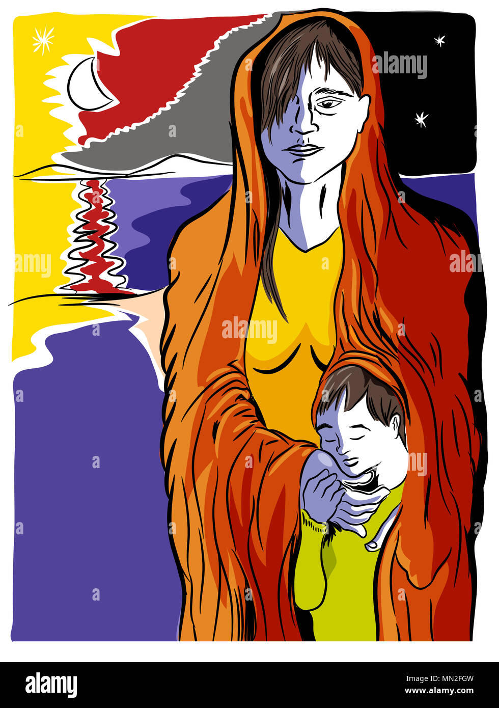 Refugees problem.  Mother and child refugees foreigners immigrants near the sea. Stock Photo
