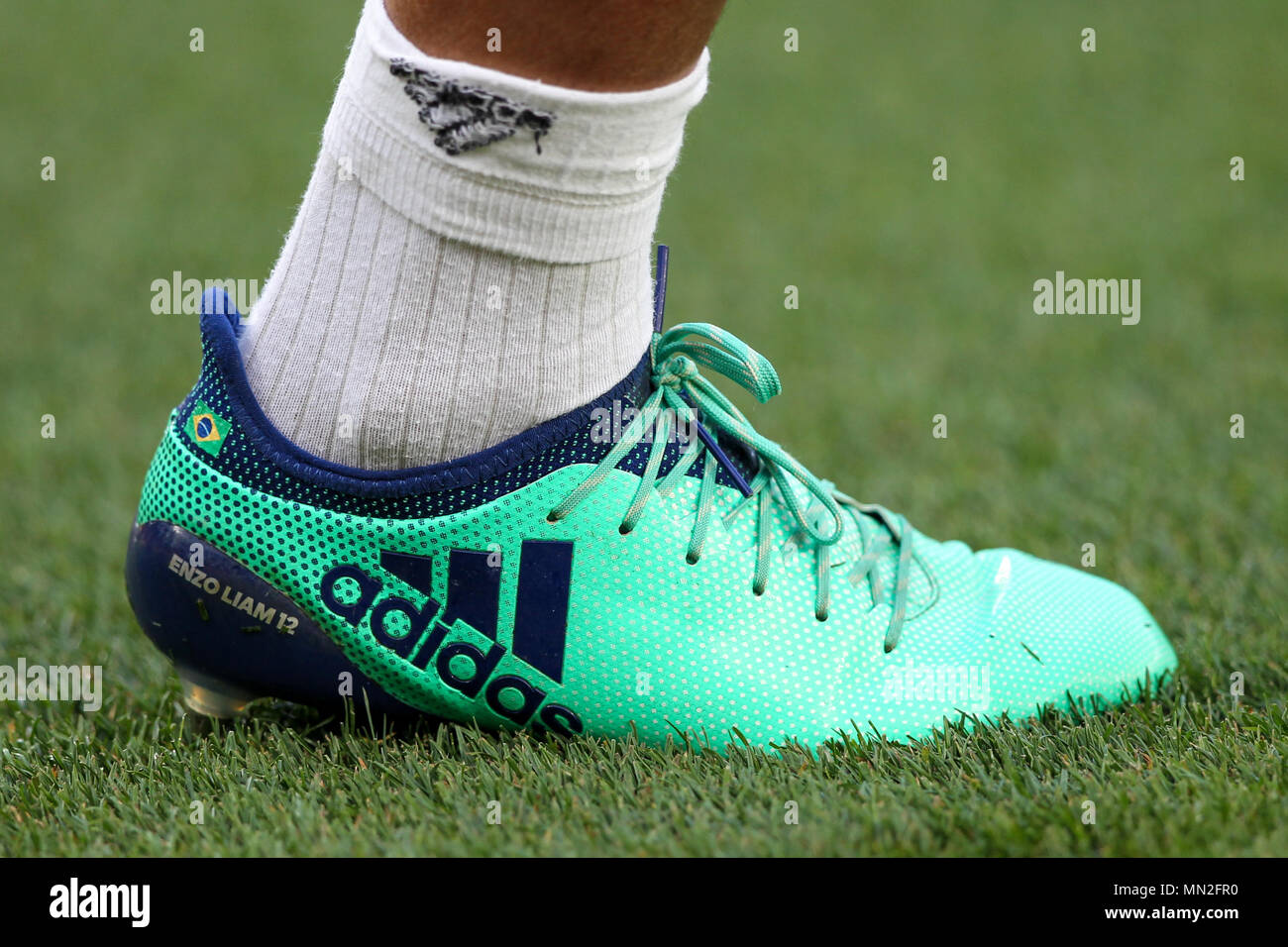 Barcelona, 6th May:  Marcelo of Real Madrid boots before the 2017/2018 LaLiga Santander Round 36 game between FC Barcelona and Real Madrid at Camp Nou - Stock Image