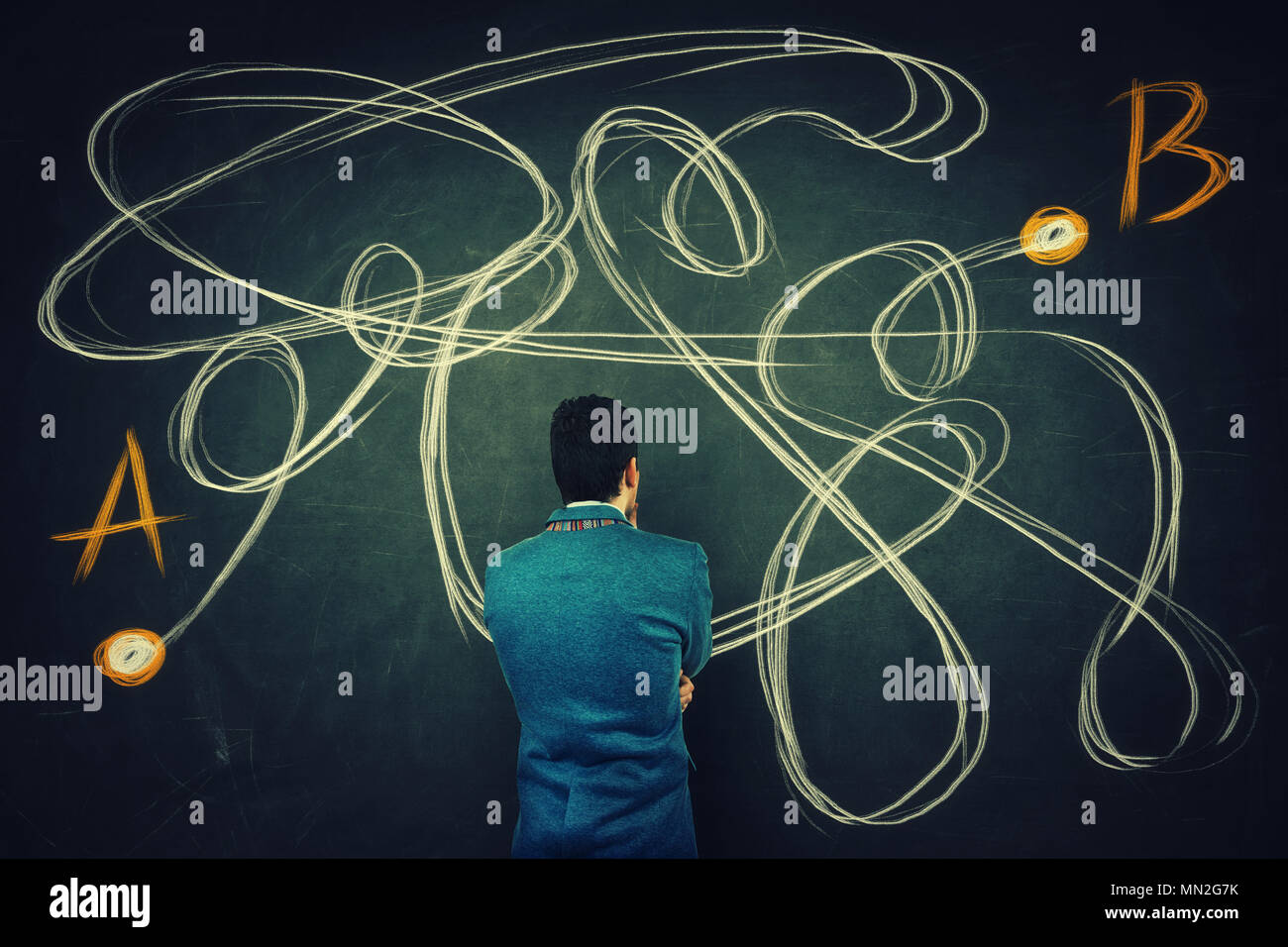 Rear view of a puzzled businessman in front of a blackboard finding the correct way from point A to point B. Solving problem, find solution, business  - Stock Image