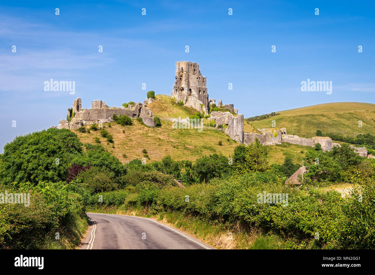 Wareham, United Kingdom - June 20, 2017: Ruins of Corfe Castle, built in medieval times by William the  Conqueror in the Isle of Purbeck in Dorset, vi - Stock Image