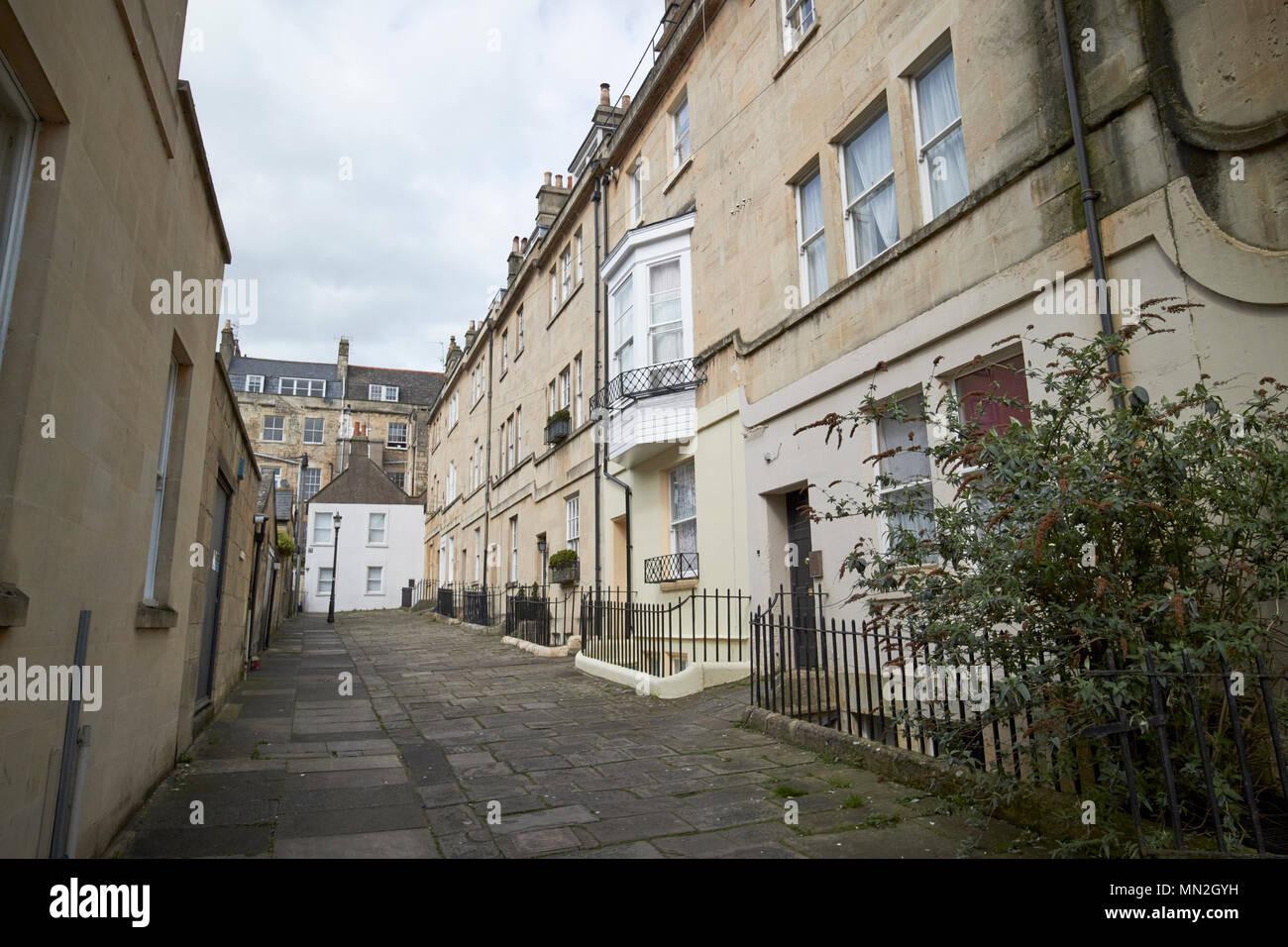 Barton Buildings terrace of seven georgian limestone houses forming a cul de sac Bath England UK - Stock Image