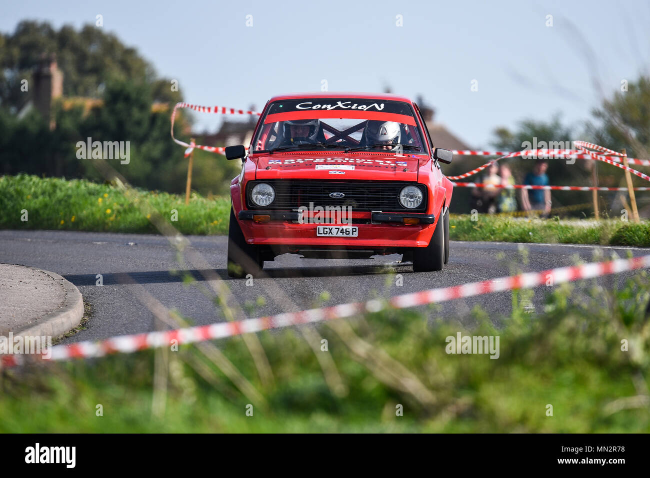 Tim Mewett driver Liz Jordan co driver racing Ford Escort II in the closed  public road Corbeau Seats car Rally Tendring and Clacton, Essex, UK