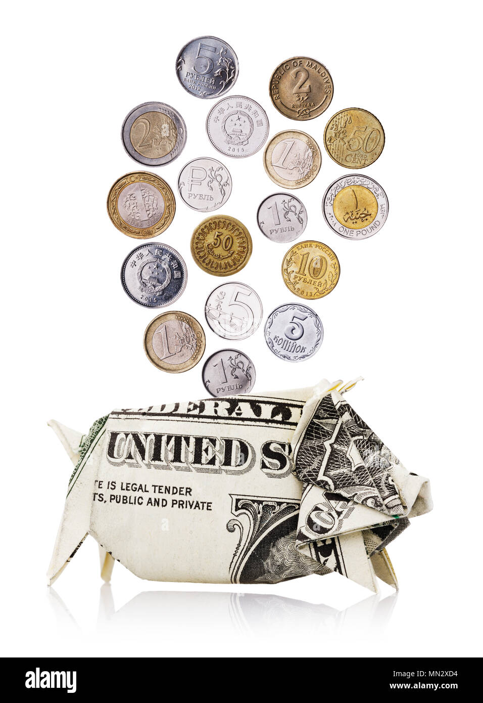 Coins of different countries fall in a piggy bank made from dollar, isolated on white background Stock Photo
