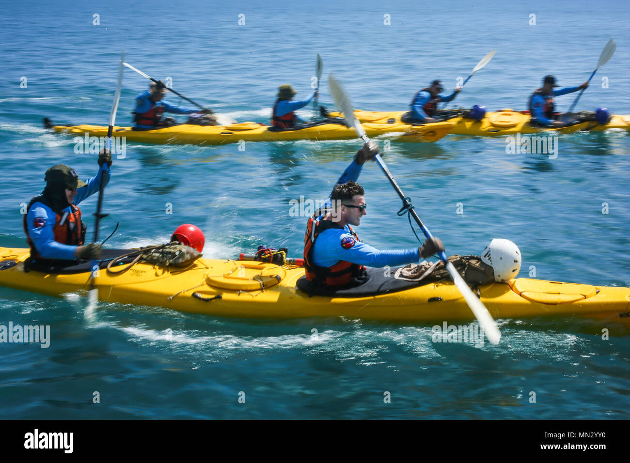 During An Expedition In Australia Stock Photos Power Boat Installation Fishing Hunting Kayak Marine Led 210 Cairns Us Sgt John Montgomery Right Avionics Technician