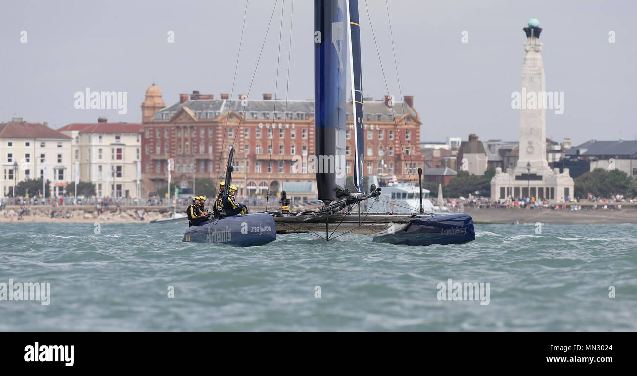 PORTSMOUTH, ENGLAND - JULY 24: The Artemis Racing team yacht in race trim on July 24, 2016 in Portsmouth, England. - Stock Image