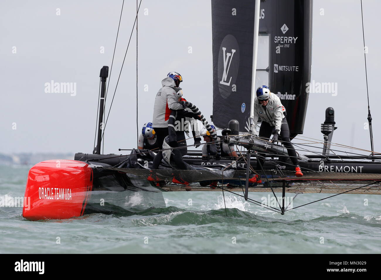 PORTSMOUTH, ENGLAND - JULY 24: The Emirates Team New Zealand yacht in race trim on July 24, 2016 in Portsmouth, England. - Stock Image