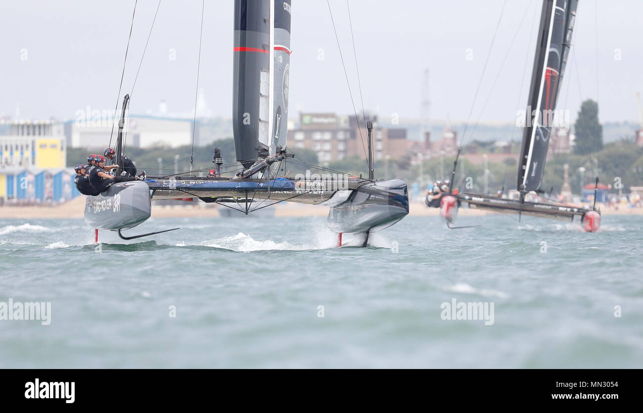 PORTSMOUTH, ENGLAND - JULY 24: Ben Ainslie skipper of The Land Rover Bar team yacht in race trim  on July 24, 2016 in Portsmouth, England. - Stock Image