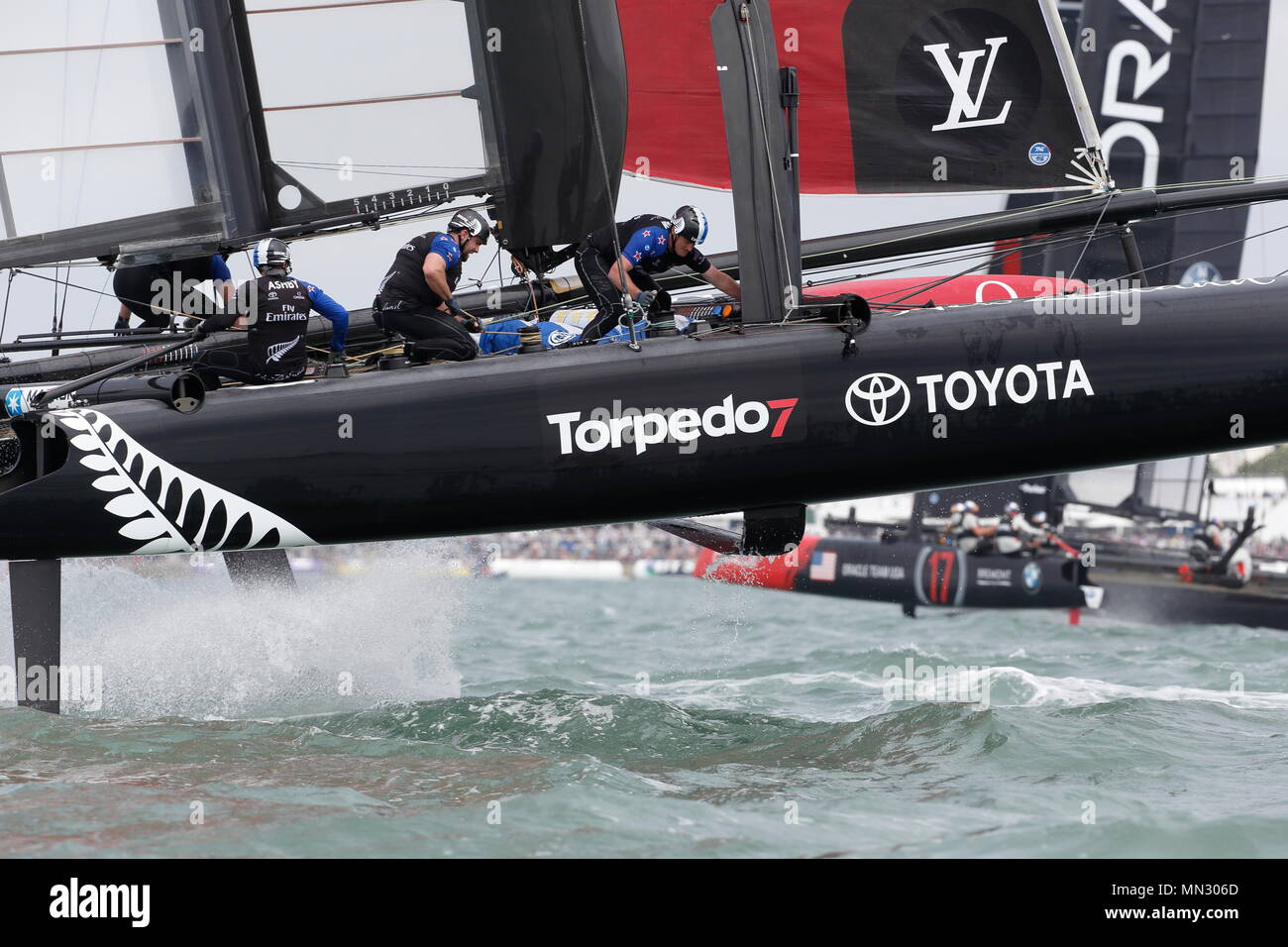 PORTSMOUTH, ENGLAND - JULY 24: Emirates Team New Zealand yacht takes flight in race trim on July 24, 2016 in Portsmouth, England. - Stock Image