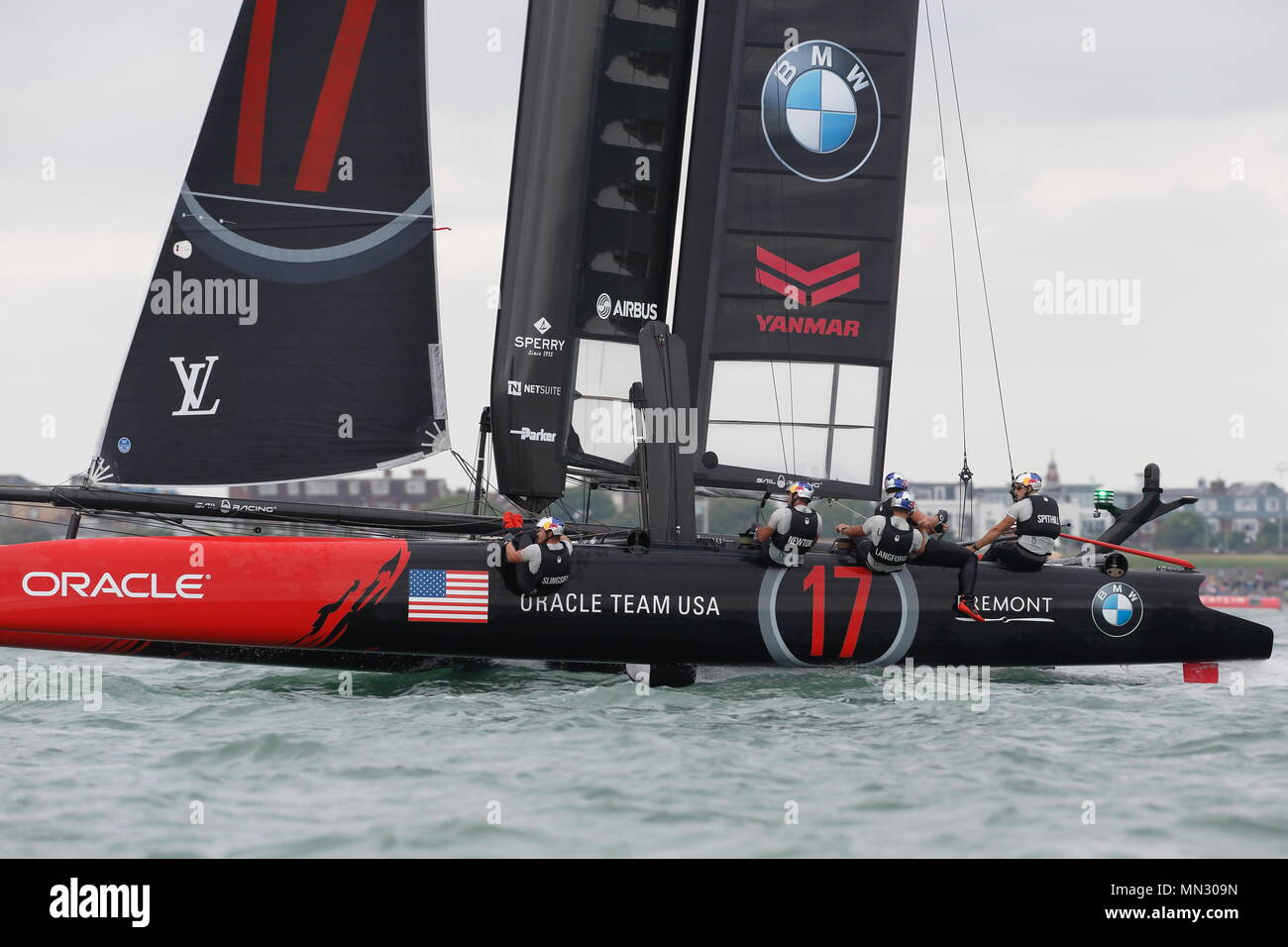 PORTSMOUTH, ENGLAND - JULY 24: The Oracle team USA yacht in race trim on July 24, 2016 in Portsmouth, England. - Stock Image