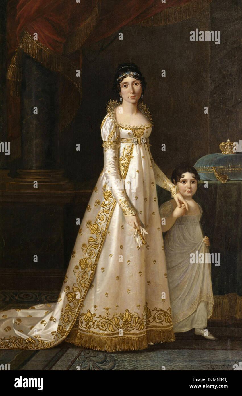Portrait of Marie-Julie Clary (1777-1845) Queen of Naples with her daughter Zenaide Bonaparte, Robert Lefevre, 1897 - Stock Image
