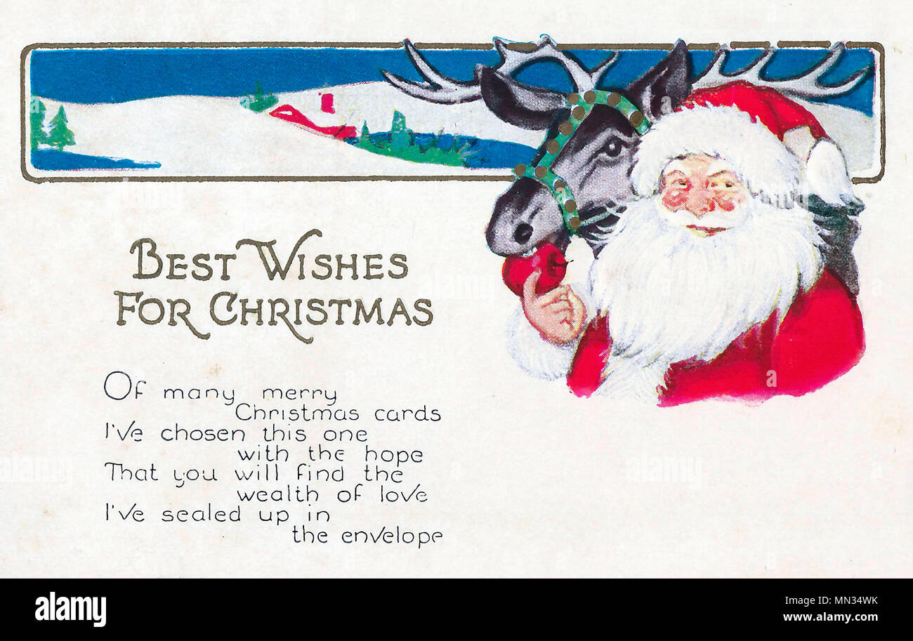 Best Wishes for Christmas - Vintage Christmas Post Card Stock Photo ...