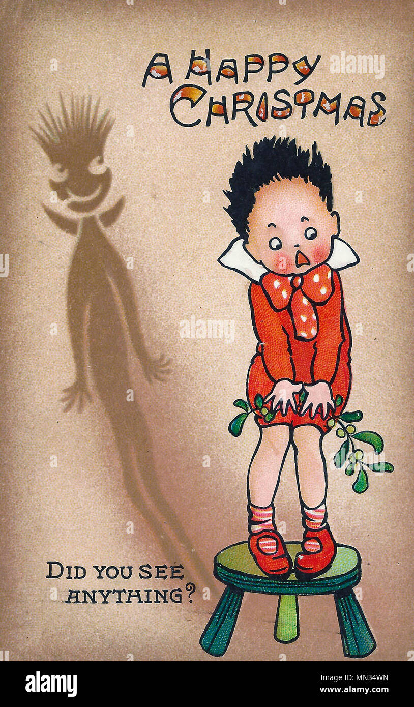 A Happy Christmas - Did you see anything - A Vintage comical Christmas Post Card - Stock Image