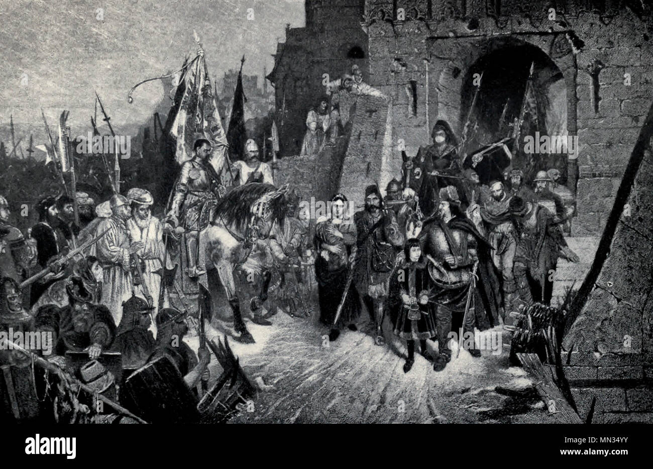 The Hussite Wars - Surrender of a Silesian Castle to Procopius the Great - Stock Image